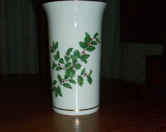 """Vintage Lenox Holiday Fine China (Dimension shape) Gold Straight Vase - 7.5"""" - Holly and Berries Design"""