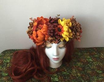 Autumn Flower Crown, Floral Headdress, Fall Goddess Crown