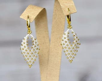 gold beaded earrings bridesmaid earrings bridal jewelry gift-for-brides gift-for-wife white jewelry long earrings women earrings boho gift
