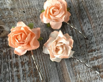 Peach Hair Clips, Peach Hair Slides, Wedding Hair Accessories, Bridal Hair slide, Mulberry Rose Hair Clip, Rustic Wedding Hair Clip, Rose