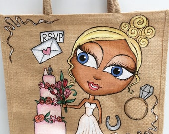 Bride Bag- Large personalised jute bag, hand painted, bespoke, bridal, blonde, wedding.