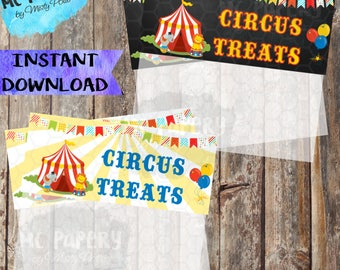 INSTANT DOWNLOAD Printable Circus Birthday Treat Bag Toppers - YOU Print