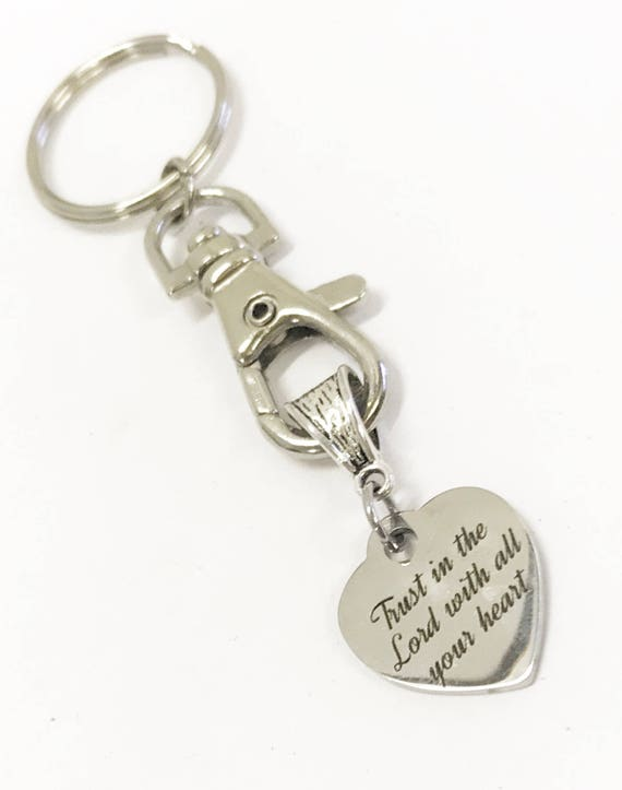 Trust In The Lord With All Your Heart Keychain, Spiritual Gifts, Scripture Gifts, Christian Keychain, Baptism Gift, Confirmation Gift