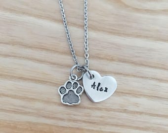 pet memorial - pet gift - pet memorial jewelry - pet loss gifts - hand stamped necklace - paw print necklace - pet loss gifts cat