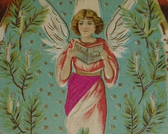 Angel With Silk Attachment, Branches, Candles Antique Christmas Postcard