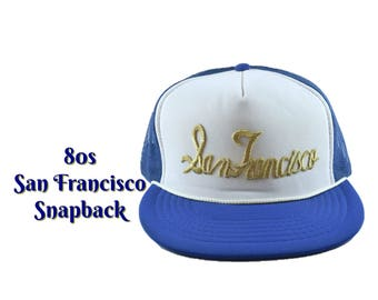 80s DEADSTOCK SAN FRANCISCO Snapback Hat Blue White Mesh Back Gold Embroidered Robe Cap 1980s State City Tourist California Mens Trucker Hat