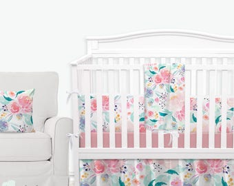 Bright and Beautiful Watercolor Floral Baby Crib Bedding | Watercolor Floral Nursery | Floral Girl Nursery | Pink Floral Baby Bedding