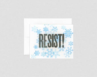 Snowflakes Resistance - Resist Holiday / Christmas Letterpress Greeting Card