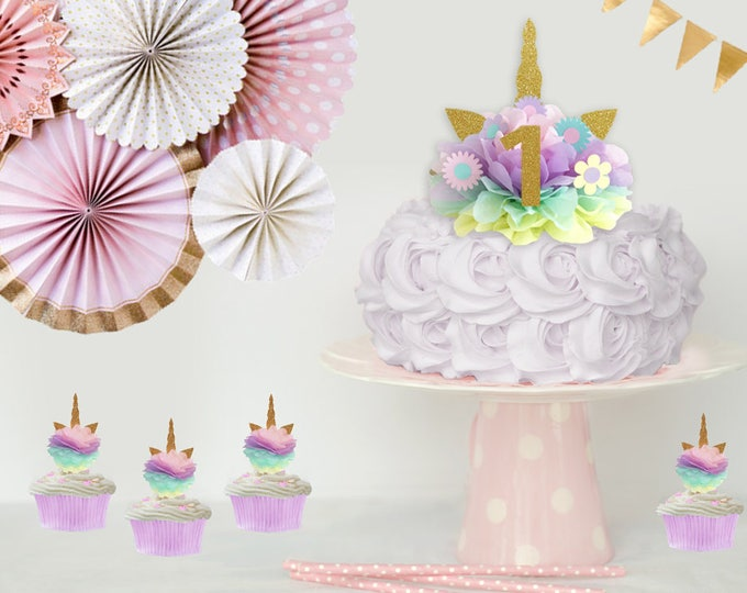Unicorn Cake Topper, Unicorn Cake Kit, Unicorn Birthday Decoration, Unicorn Centerpiece, Unicorn Birthday Party First Birthday Decoration