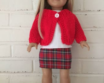 American Girl Doll clothing -  Skirt and cardigan sweater outfit
