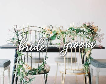 Bride  Groom Chair Signs. White Chair Signs.Wedding Chair Signs.Chair  decor.