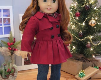 18 Inch Doll Cranberry Red Coat - Fully Lined Peplum Jacket - Modern Winter Doll Clothes - American Made Girl Doll Clothes