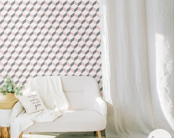 Cube Pattern Removable Wallpaper / Traditional or Self Adhesive Wallpaper
