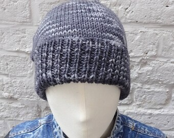 Men's Grey Wool Beanie, Large Hand Knitted Hat, Fisherman's/Watchman's Fitted Beanie - READY TO SHIP