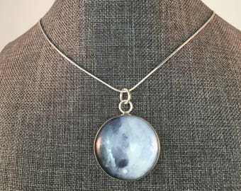 Sterling Silver Blue Moon Necklace with sterling silver chain