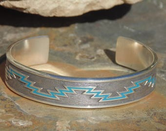 Kabana ~ Heavy Sterling Silver Cuff Bracelet with Turquoise Colored Enamel Design ~ 36 Grams