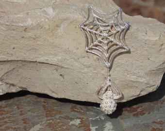 D'Molina ~ Large Mexican Sterling Silver Spider Swinging from Web Brooch / Pin - 20 Grams