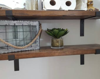 Two Industrial Modern Wood and Metal Shelves, Metal Shelf Brackets with Wood Plank Shelves, Farmhouse Style Shelves SET OF TWO!