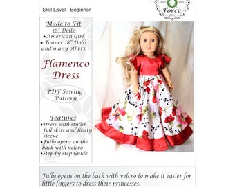 18 inch doll clothes pattern dress. Flamenco dress fits 18 inch dolls like American girl doll  - PDF sewing pattern instant download
