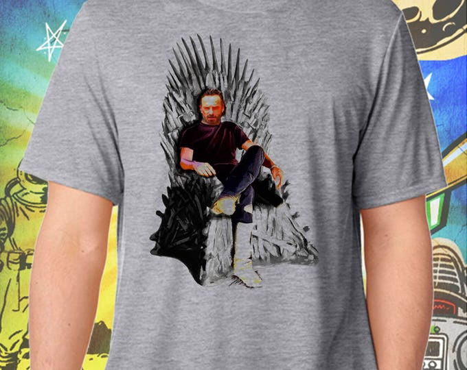 The Walking Dead /  Game of Thrones / Rick Grimes Wins the Iron Throne / Men's Zombie Gray Performance T-Shirt