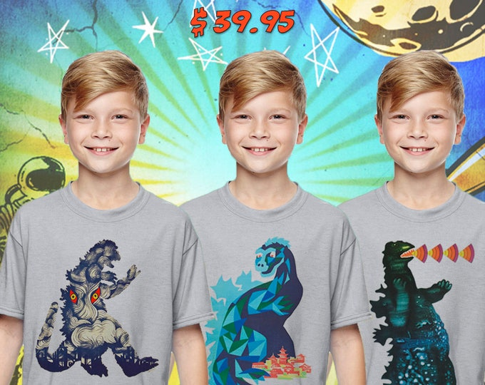 Limited Edition Retro 50s Godzilla Monster Set / Set of 3 Silver Child Size Performance T-Shirt