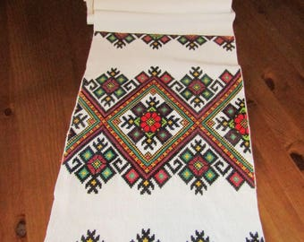 Antique Romanian , Ukrainian , Moldavian hand embroidered  traditional towel, decorative textile, homespun center table code 4