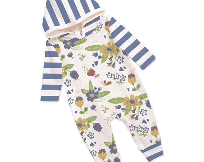 Baby Girl Hoodie Romper, Newborn Girl Romper, Floral Long Sleeve Hooded Romper, Blue Stripes, TesaBabe RP81HSNBI0000