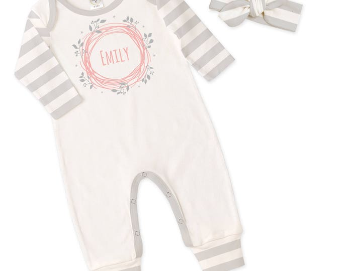 Personalized Newborn Girl Coming Home Outfit, Monogram Newborn Baby Girl Outfit, Baby Girl Take Home Romper, Baby Girl Headband, Tesababe