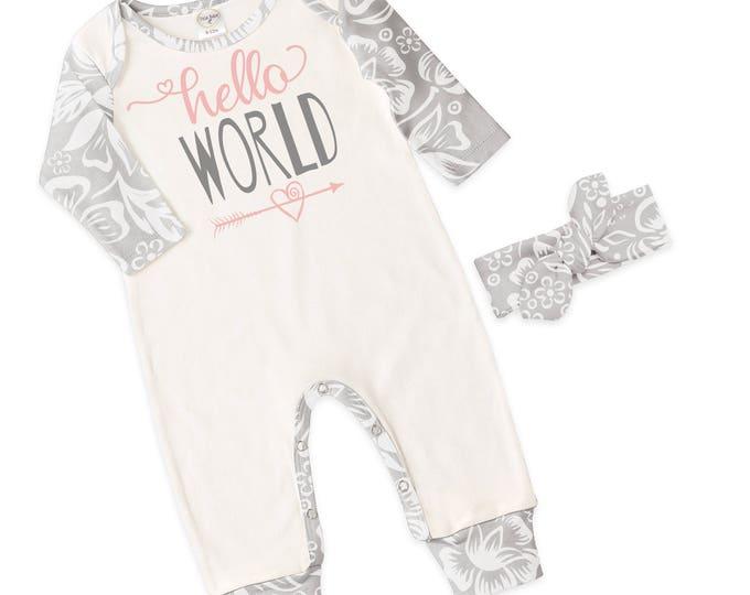 Baby Girl Romper, Newborn Girl Take Home Romper, Gray Floral Long Sleeve Romper, Hello World, TesaBabe