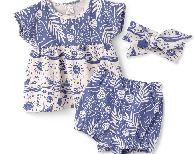 Baby Girl Summer Outfit, Baby Girl Top and Bloomers Set, Baby Girl Bloomers, Blue Floral Bloomers, Baby Girl Navy Outfit, Tesa Babe