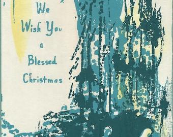 Christmas cards watercolor block print original artist circa 1950s download