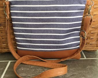 crossbody bag, nautical bag, striped crossbody bag, leather crossbody, pineapple fabric