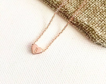 Tiny heart initial necklace, rose gold necklace, personalised gift, personalised necklace, initial necklace, bridesmaid gift, birthday gift
