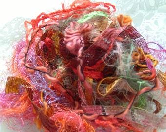 ORANGE VIBES fiber art yarn bundle/orange craft yarn/orange yarn trim/embellishment trim/18 yards/yarn destash/fiber bundle/fiber set
