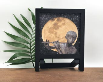 Music room art | moon art canvas | flute player | framed moon print | tabletop art | digital collage art | small framed canvas | shelf decor