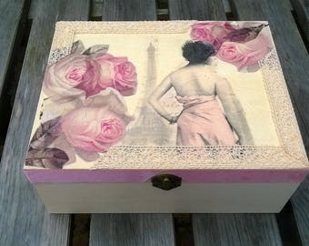 Large Size- Keepsake Box- Memory Box- Recipe Box- Jewellery Box- Storage Box- Wooden Box- Pink Roses- Paris Scene- Gift Box