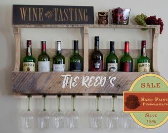 Personalized Gift, Wine Rack Shelf, Pallet Wine rack, Wine Rack, Rustic Wine Rack, Wooden Wine Rack, Wine Rack, Wedding Gift,