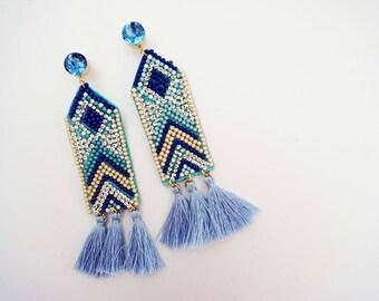 Blue Beaded Tapestry Tassel Earrings