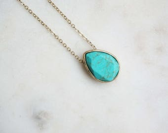 Turquoise and Gold Teardrop Necklace
