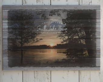 Custom Lake House Name Canvas Print, Customized Family Name Lake House Sign, Personalized Lake House Wall Art, Family & Lake Name Sign