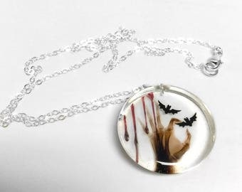 Creepy X-ray hand pendant sterling necklace, bloody jewelry, eerie jewelry, gore jewelry, resin jewelry, bat pendant, Halloween jewelry