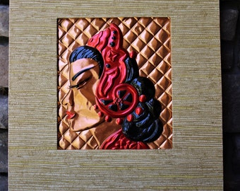 Vintage Art Deco Tooled Copper CHINESE Woman Wanda Irwin Original