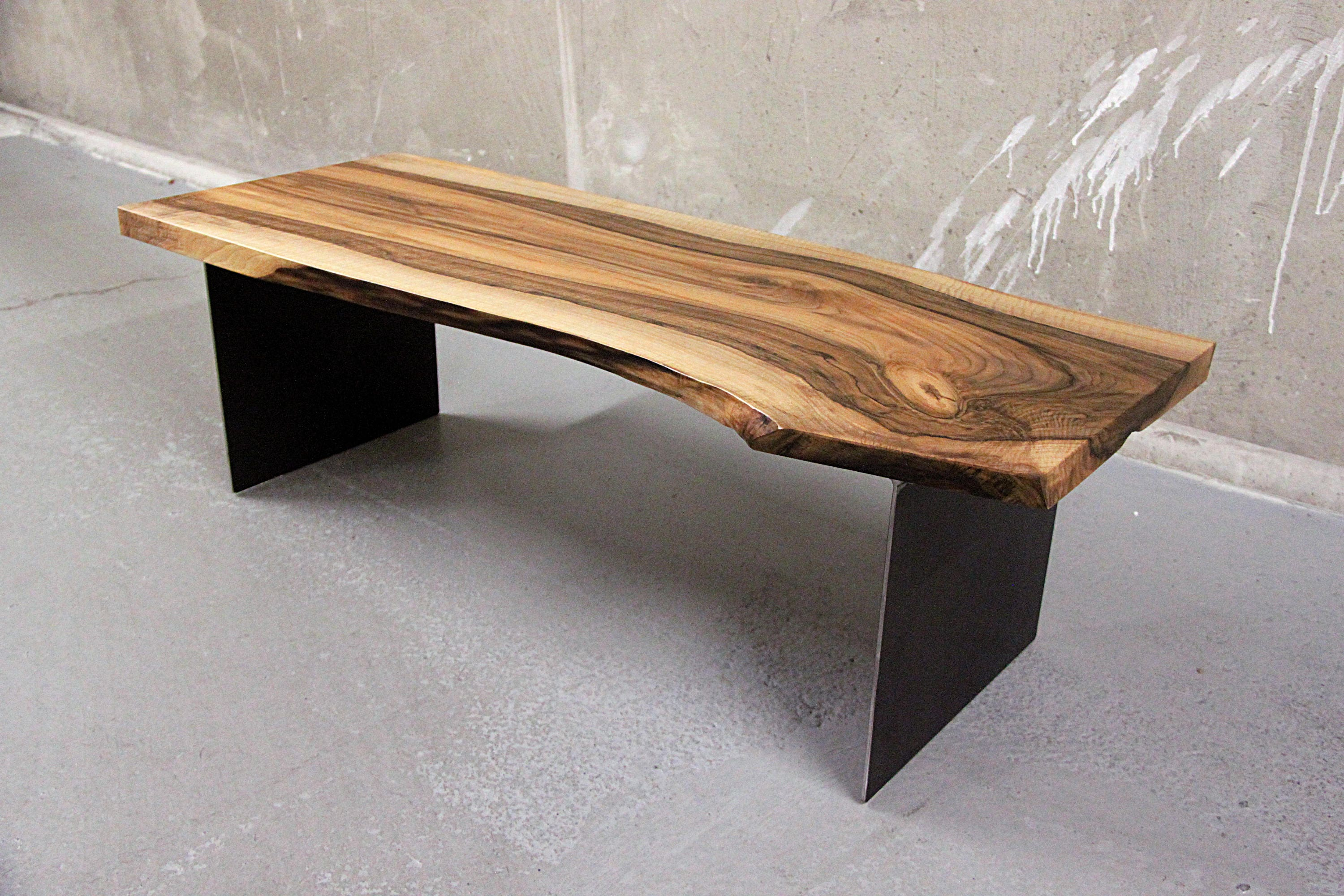 Live edge Solid walnut coffee table on steel plates legs