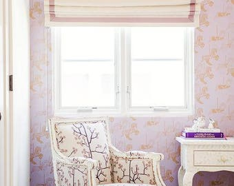 "Flat Linen Roman Shade ""Cream with Camellia border"", roman shades with trim, with chain mechanism"