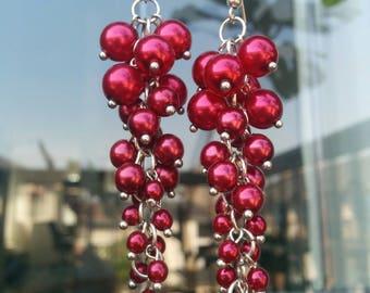 Red Grapes Swarovski Pearl Earrings