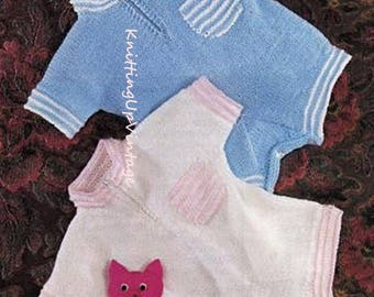 "Baby Knitting Pattern pdf Baby Romper Suit 18""-20"" chest Double Knit"