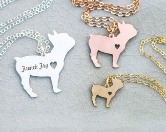 French Bulldog Necklace •Dog Jewelry Bulldog Charm Pet Frenchie Dog Charm Memorial Gift Pet Loss Gift Engraved Name Pendant Bulldog Gift Her