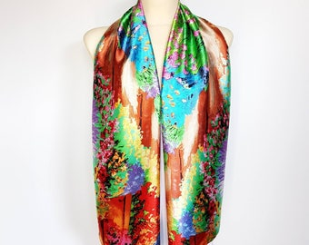 Blue and Green Large Satin Scarf Women Boho Scarf Blue and Orange Scarves for Women Inspirational Women Gift Mom from Son from Daughter