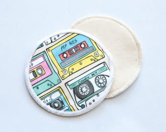 Reusable Bamboo Velour Nursing Pads - Music Cassette Tapes, Mix Tapes