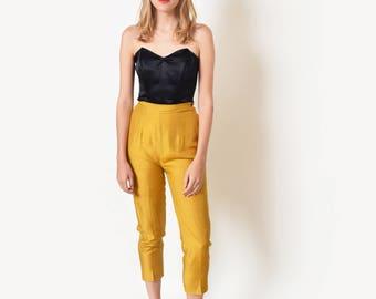 1950s Mustard Silk Cigarette Pants 50s Vintage High Waist Trousers 25 XS